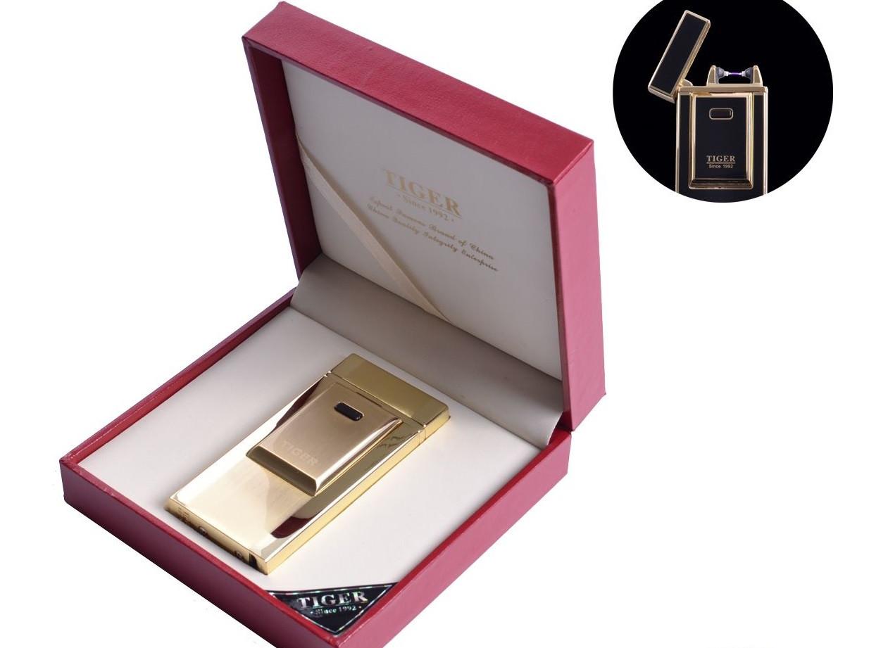 """USB зажигалка """"TIGER"""" (Электроимпульсная) №4686 Gold"""