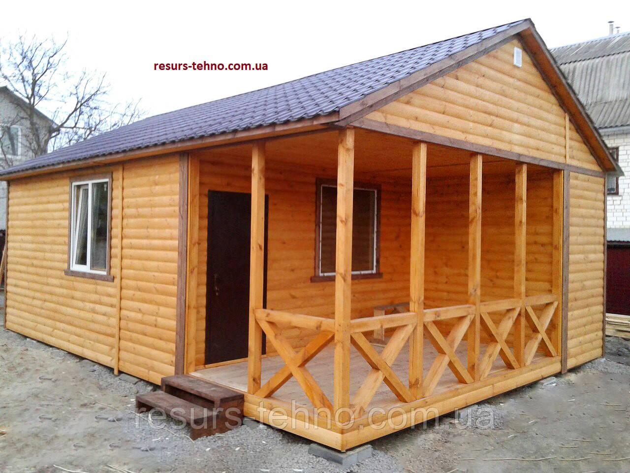Домик деревянный дачный 8,5м х 6,0м  Блокхаус с террассой
