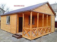Домик деревянный дачный 8,5м х 6,0м  Блокхаус с террассой, фото 1