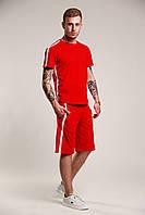 Футболка мужская летняя стильная с лампасами, цвет красный