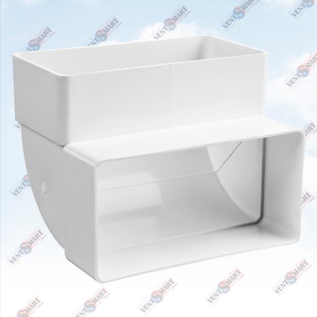 Внешний вид вертикального колена (отвода) 90 для плоских (прямоугольных) пластиковых вентиляционных ПЛАСТИВЕНТ производства ВЕНТС (Украина). Колено вертикальное плоского воздуховода для вентиляции Пластивент изготовлены из пластика высокого качества, который не поддерживает горение, имеют гладкую внутреннюю поверхность, широкий диапазон температур эксплуатации ― от -30 до +70 град. Цельсия.