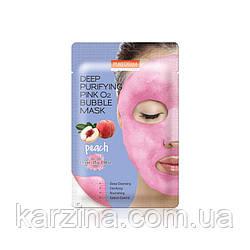 Маска для лица кислородная глубоко очищающая с персиком Purederm Deep Purifying Pink O2 Bubble Mask Peach
