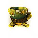 Черепаха кашпо цветная гипс СГ050 цв, фото 4