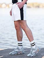 Мужские спортивные шорты BEZET Shark white/black '19, мужские белые шорты с лампасами, шорты с лампасами, фото 1