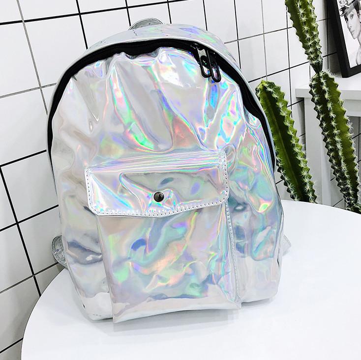 Рюкзак голограммный среднего размера серебристый