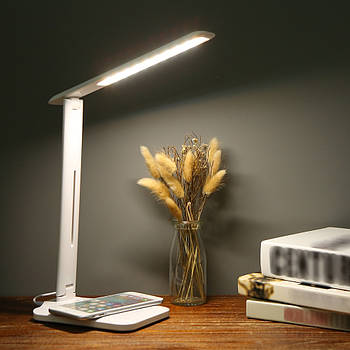 Настільна лампа DL-75 5W LED 220V біла бездротова зарядка для телефону