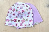 """Набор трикотажных шапок """"Цветы"""" для девочек с 6 месяцев (3 размера, 42-54 см) ТМ MagBaby 102953, фото 1"""