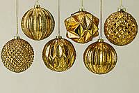 Набор новогодних шаров из 6-ти шт золотое стекло d10см 1007030 новогодние елочные шары