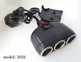В прикуриватель разветвитель Olesson 1634 с выключателем, вольтметром и USB 3.1А
