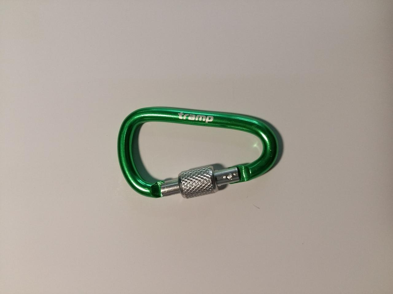 Карабін Tramp алюмінієвий, розмір 6 см, з муфтою, зелений арт.TRA-007