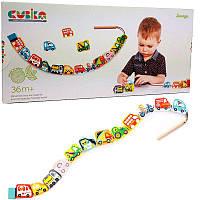 Деревянная игрушка шнуровка | Машинки - Селянки Cubika