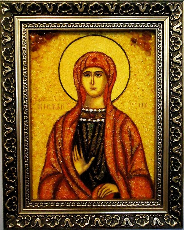 Именная икона с янтарем Ева іі-46 15*20
