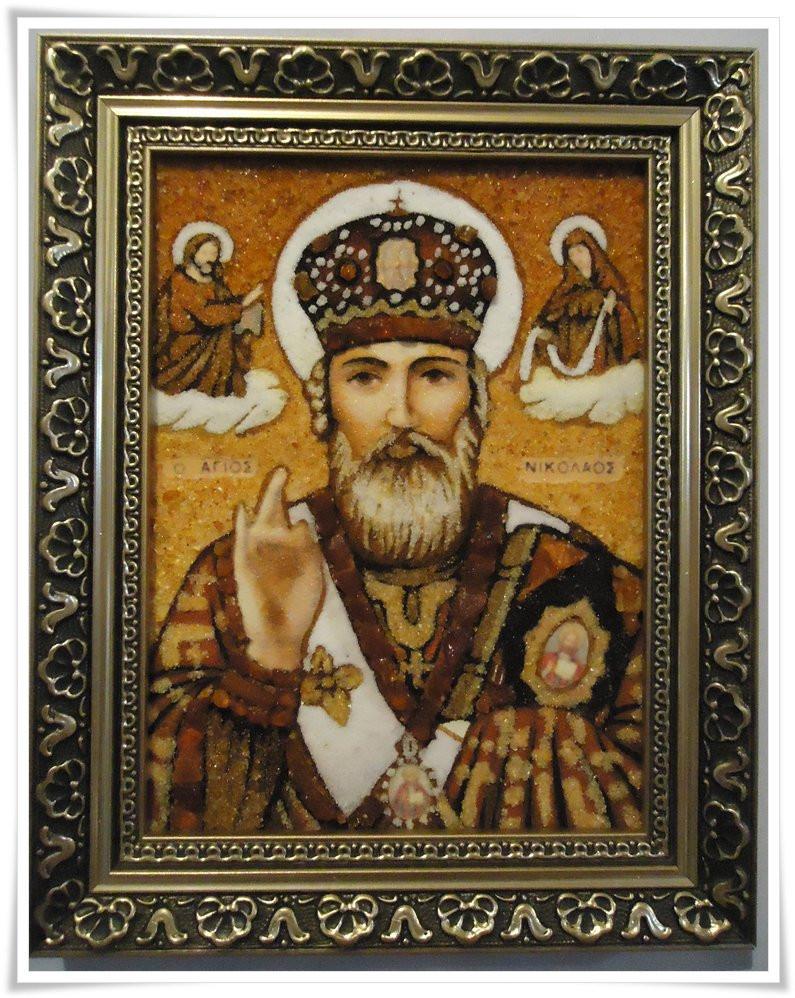 Именная икона с янтарем Николай іі-100 15*20