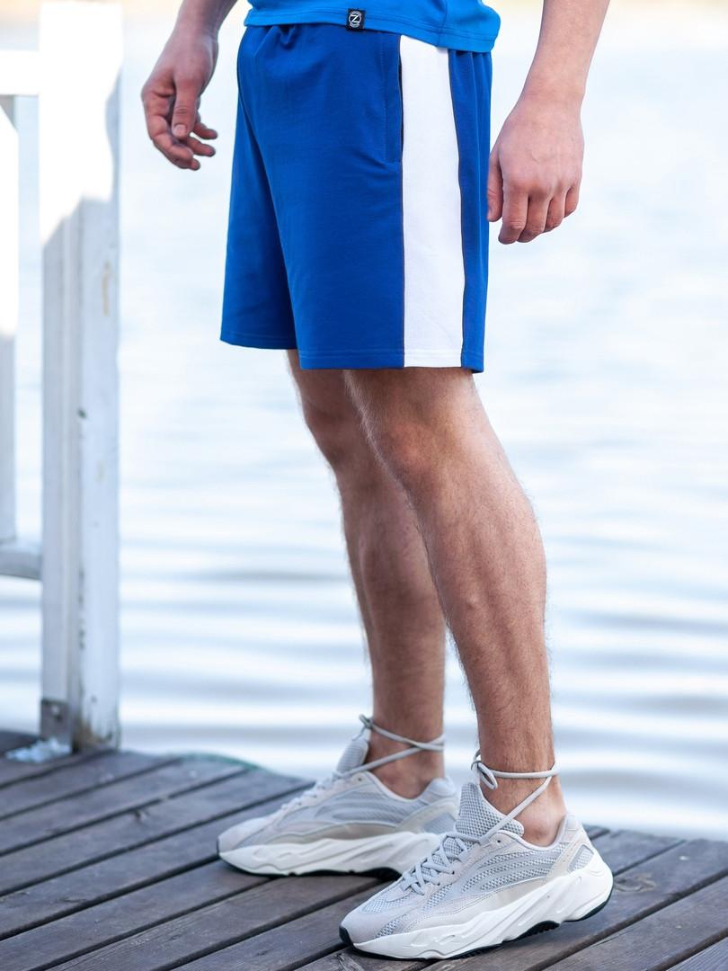 dbb3e6670fbb0 Мужские спортивные шорты BEZET Shark blue/white'19, мужские синие шорты с  лампасами
