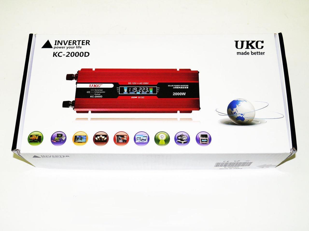 Преобразователь тока AC/DC UKC 2000W KC-2000D с LCD дисплеем