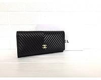 Женский кожаный брендовый кошелек (3725) black, фото 1