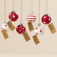 Набор новогодних шаров из 6-ти шт красное стекло d4см 1007016
