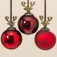 Подвесной шар олень набор из 3х шт красное стекло d10см 1008024