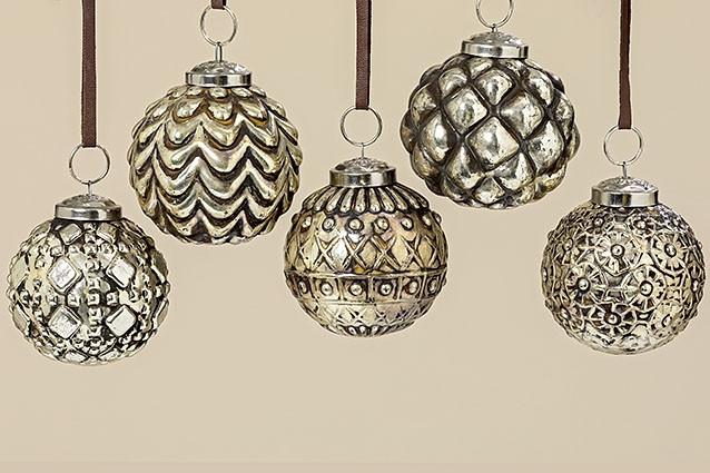 Набор новогодних шаров из 5 шт серебряное стекло d7см 1006363