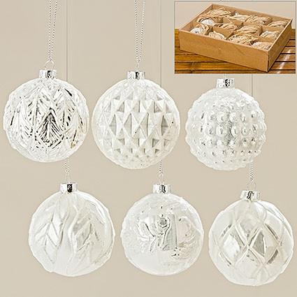 Набор новогодних шаров из 6х шт белое стекло d8см 1007009