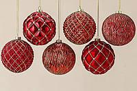 Набор новогодних шаров узор из 6х шт красное стекло d10см 1007011