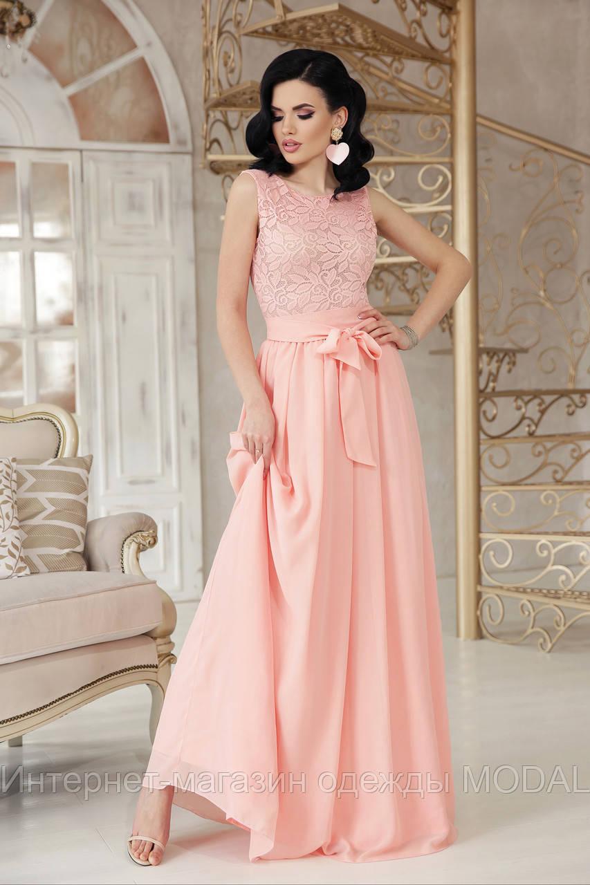 b276e49df7e Длинное вечернее платье персикового цвета - Интернет-магазин одежды MODAL в  Киеве
