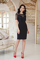 Черное коктейльное платье с бахромой, фото 1