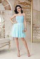 Голубое коктейльное платье с пышной юбкой, фото 1