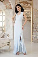 Голубое приталенное платье в пол, фото 1