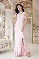 Розовое длинное платье с разрезом, фото 1