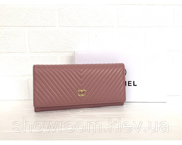 Женский кожаный брендовый кошелек (3725) powder