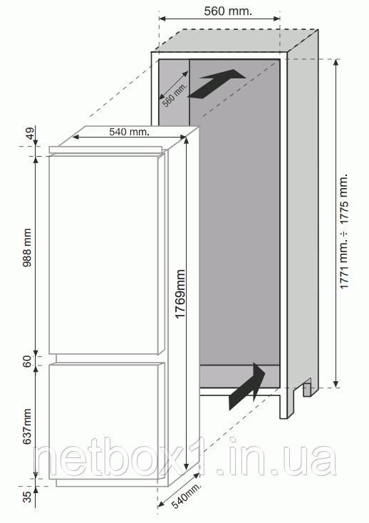 Встраиваемый холодильник Hoover BHBF 50 NK