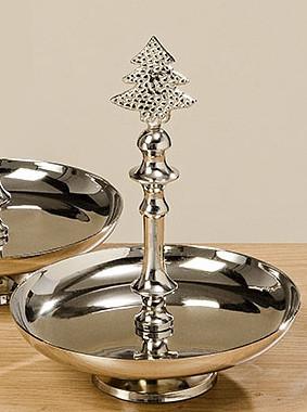 Декоративная этажерка серебряный металл h20см 1008140