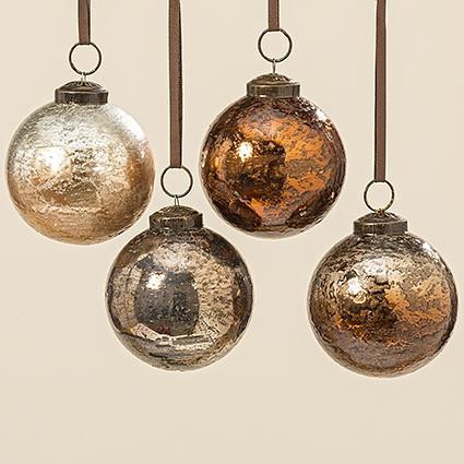 Набор новогодних шаров из 4х шт медное стекло d8см 1006364