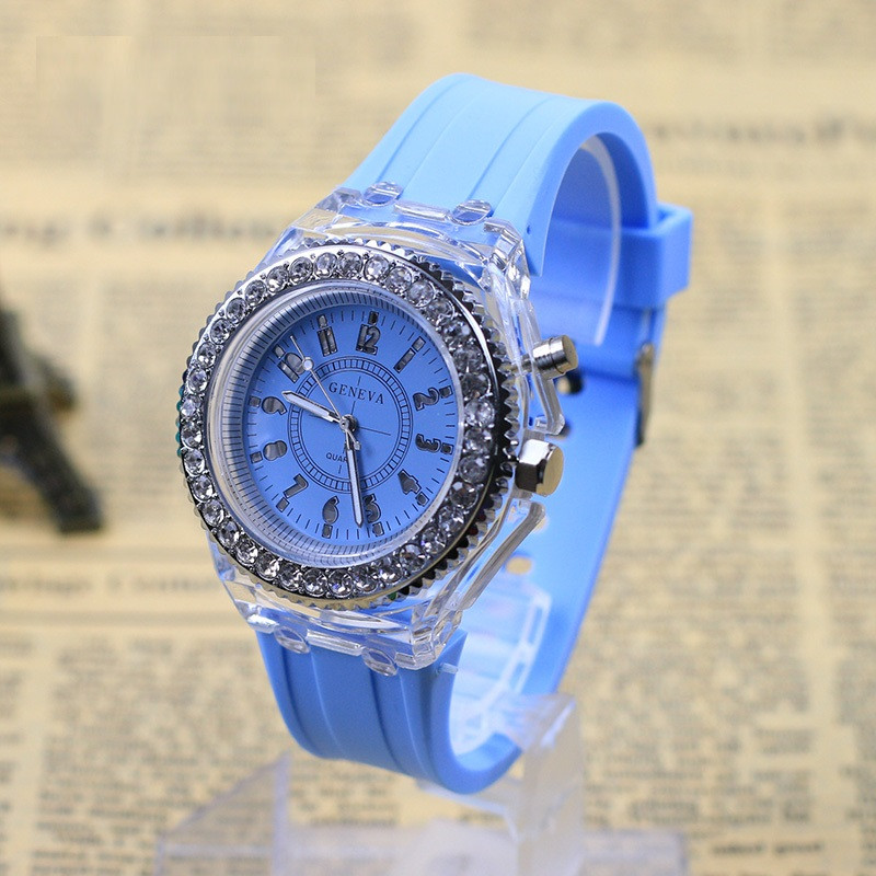 """Жіночі наручні годинники """"Geneva"""" з підсвічуванням (блакитний)"""