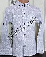 Стильная рубашка для мальчика 116-146 см(опт) (белая02) (пр. Турция)