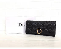 Женский кожаный брендовый кошелек (3755) black, фото 1