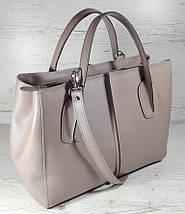 59-2 Натуральная кожа. Сумка женская, темная бежевая, какао, кофейная Женская сумка кожаная бежевая, фото 3