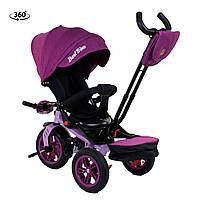 Велосипед трехколесный с родительской ручкой от 1года Best Trike Фиолетовый 360°ПОВОРОТНОЕ СИДЕНИЕ 9500 - 2518