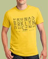 0009-TSRA-150 SY    Мужская футболка «BRKLYN - borough of NY». Жёлтая