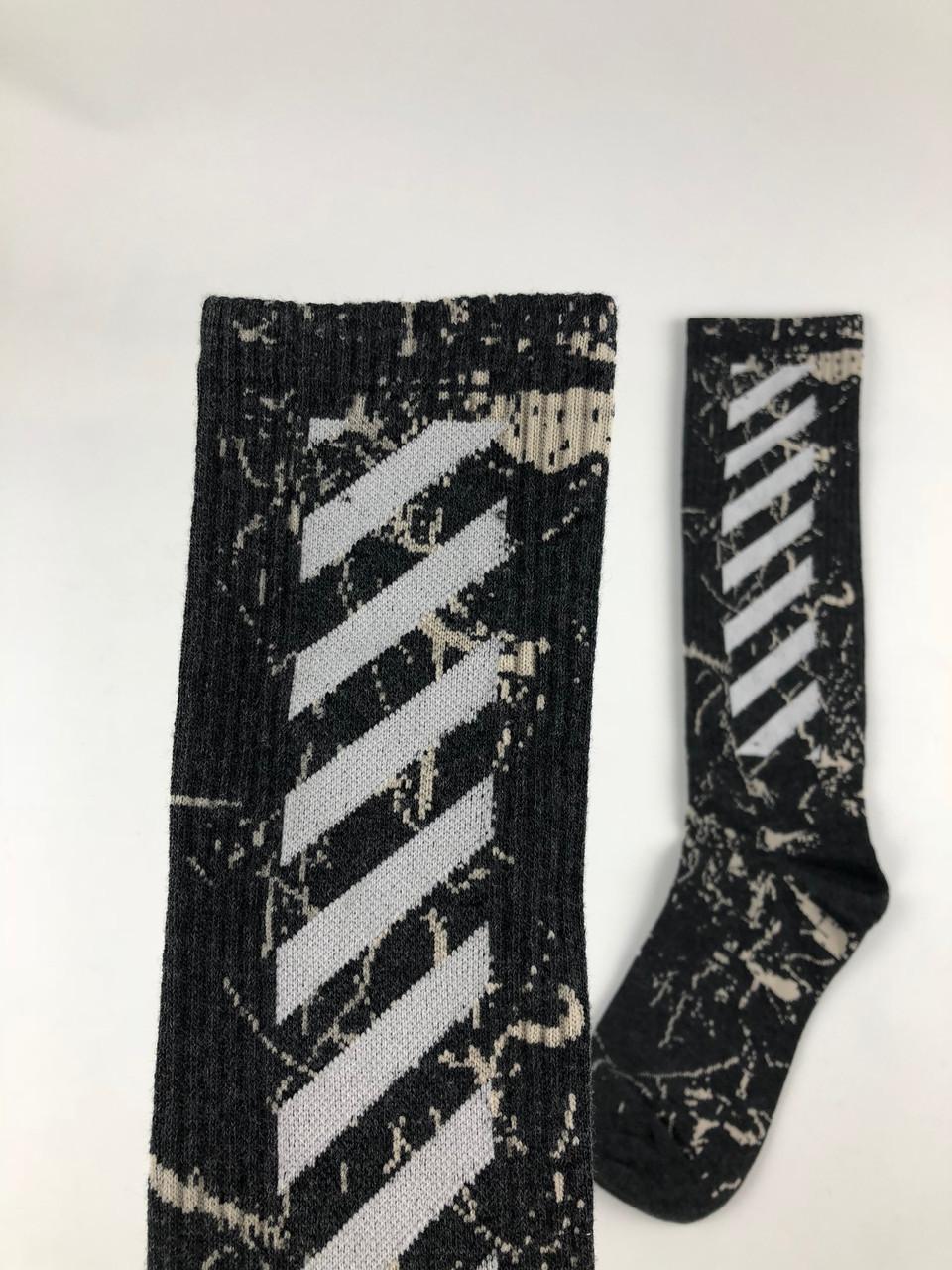 Носки высокие в стиле Off-White серые, фото 1
