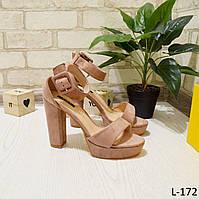 Босоножки женские на устойчивом каблуке замшевые отличного качества, розовые, женская летняя обувь