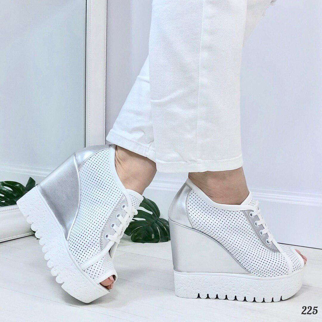 f4ff2da6a Босоножки женские, белые на танкетке, НАТУРАЛЬНАЯ КОЖА, сандалии женские,  открытые туфли женские