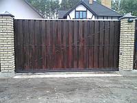 Откатные ворота - зашивка дерево, фото 1