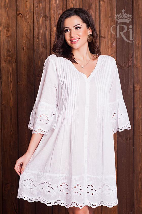 Хлопковое летнее платье белого цвета