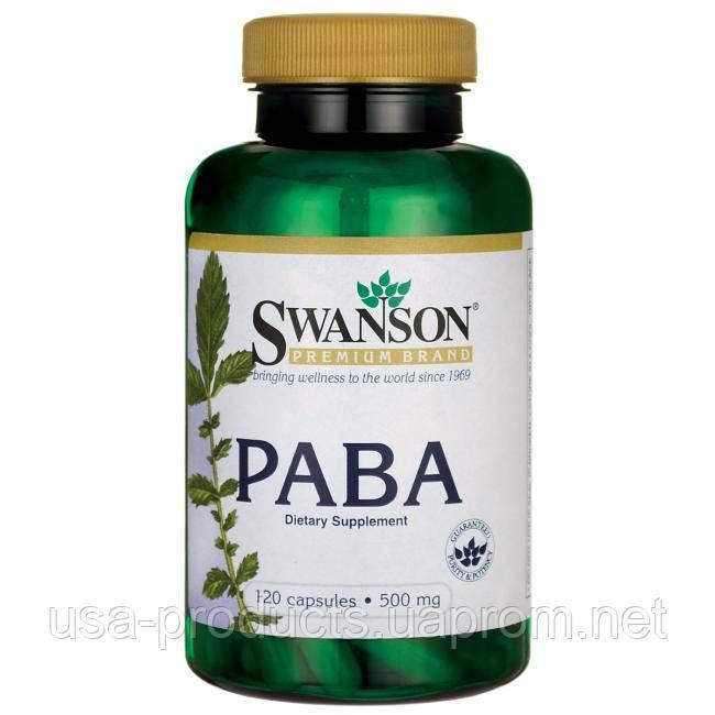 ПАБК парааминобензойная кислота (витамин b10) 500 мг 120 капс США