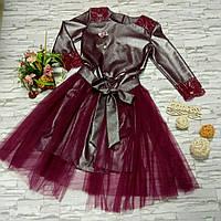 96a0c884912 Нарядное платье на девочку подростка (со съёмной фатиновой юбкой) цвета  марсала