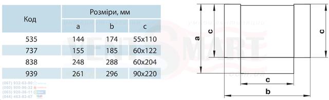 Габаритные типоразмеры тройников 90 градусов для плоских каналов (воздуховодов) системы Пластивент