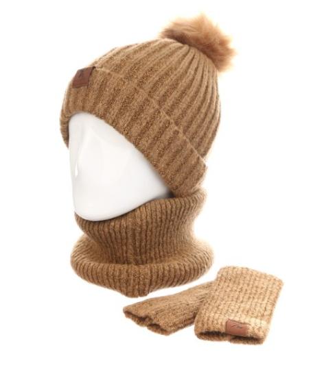 Женская шапка+хомут+маска AL799043