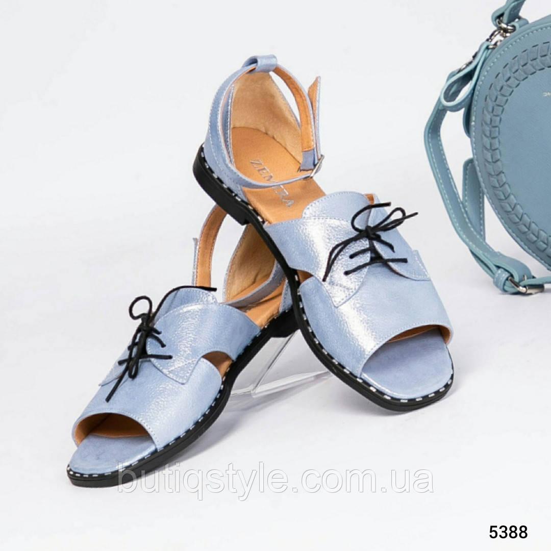 Женские открытые голубые туфли с ремешком натуральная кожа-сатин